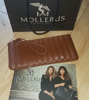 Maison Mollerus Original Clutch Tasche Pochette Necessaire braun Streifenmuster Elegant NEU