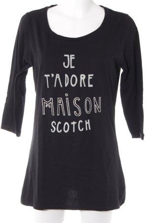 Maison Scotch Basic Top schwarz-weiß Schriftzug gedruckt Casual-Look