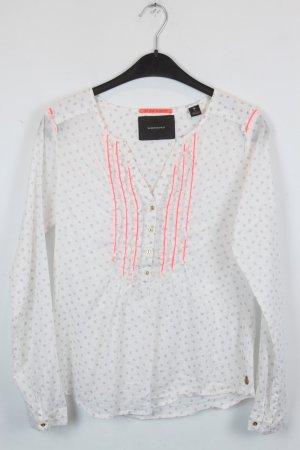 Maison Scotch Bluse Gr. S Knopfleiste Rüschen weiß gemustert neon pink (18/2/587)