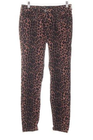 Maison Scotch Pantalón de pana marrón-negro estampado de leopardo