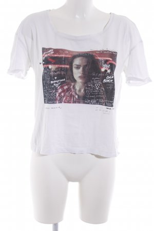 Maison Scotch Cropped Shirt white-black placed print casual look