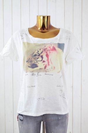 MAISON SCOTCH Damen T-Shirt BOTANIC Weiß Bunt Baumwolle Tiger Print Rundhals Gr1