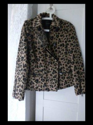 Maison Scotch Damen Wolle biker Jacke Gr. S Gr. 1 Reißverschluss Leopard Muster
