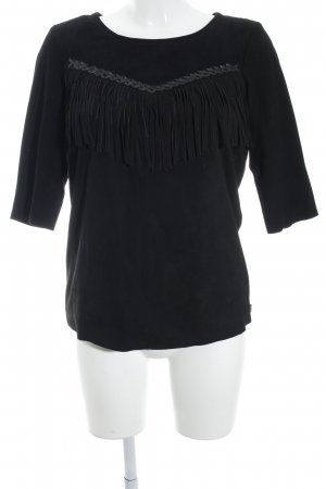 Maison Scotch Camisa de corte imperio negro look casual