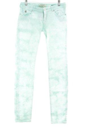 Maison Scotch Pantalon cinq poches blanc-turquoise motif batik