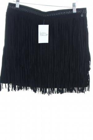 Maison Scotch Fransenrock schwarz Hippie-Look