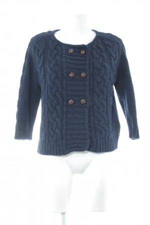 Maison Scotch Coarse Knitted Jacket dark blue-cognac-coloured cable stitch