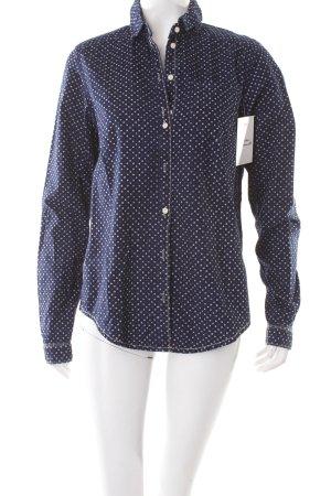 Maison Scotch Hemd-Bluse blau-weiß Punktemuster Logostickerei