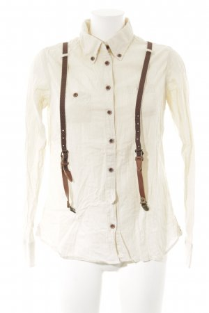 Maison Scotch Hemd-Bluse creme-hellbraun Country-Look
