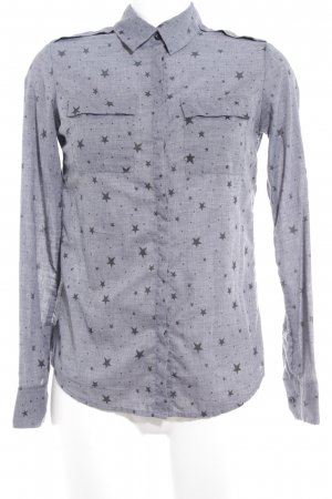 Maison Scotch Hemd-Bluse graublau Sternenmuster Casual-Look