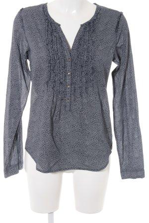 Maison Scotch Hemd-Bluse weiß-dunkelblau abstraktes Muster Boho-Look