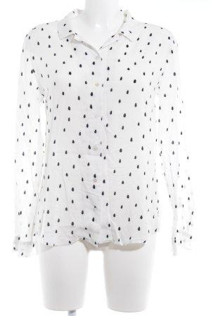 Maison Scotch Hemd-Bluse weiß-schwarz Punktemuster Casual-Look
