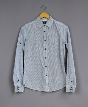 Maison Scotch Camicia a maniche lunghe bianco-blu scuro