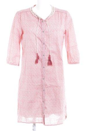 Maison Scotch Hemdblusenkleid rot-hellbeige abstraktes Muster Elegant