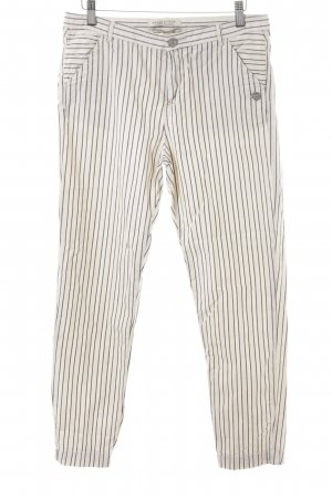 Maison Scotch High-Waist Hose wollweiß-dunkelblau Streifenmuster Casual-Look
