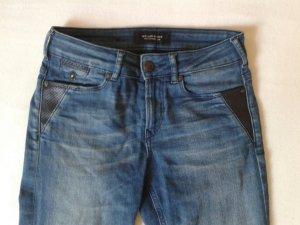 MAISON SCOTCH High-Waist Jeans mit Lederdetails
