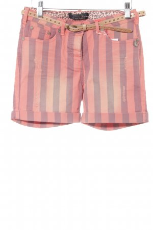 Maison Scotch Short moulant orange fluo-gris motif rayé style décontracté