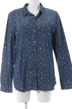 Maison Scotch Jeansbluse stahlblau Sternenmuster Washed-Optik