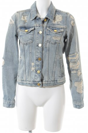 Maison Scotch Jeansjacke hellblau Used-Optik