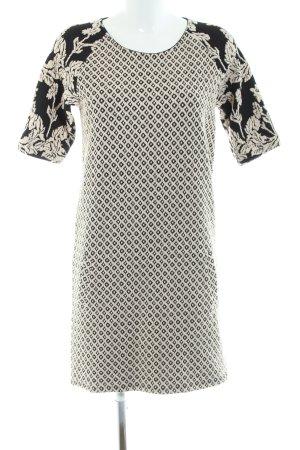 Maison Scotch Jerseykleid schwarz-weiß Blumenmuster Business-Look