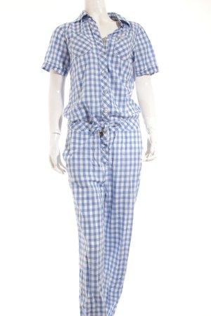 Maison Scotch Jumpsuit blau-weiß Vichykaromuster Casual-Look