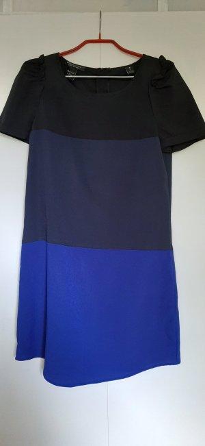 Maison Scotch Kleid kurzarm Color Blocking Steifen blau schwarz gerader Schnitt Gr. 34