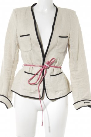 Maison Scotch Kurz-Blazer hellbeige-schwarz meliert Business-Look