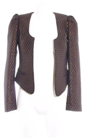 Maison Scotch Kurz-Blazer schwarz-dunkelorange Punktemuster Casual-Look