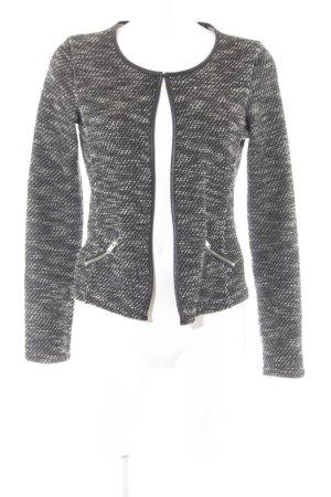 Maison Scotch Kurz-Blazer schwarz-weiß Webmuster Casual-Look