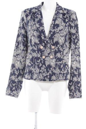 Maison Scotch Kurz-Blazer wollweiß-dunkelblau florales Muster Casual-Look