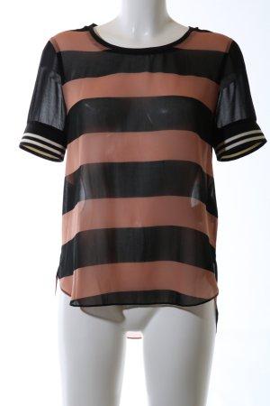 Maison Scotch Kurzarm-Bluse schwarz-hellorange Streifenmuster Casual-Look
