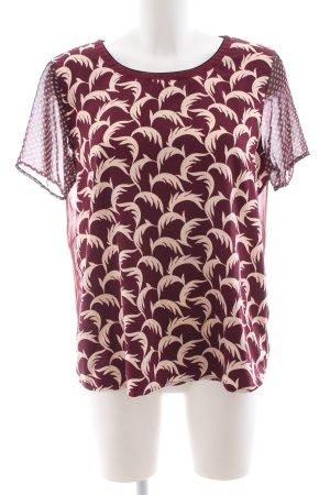 Maison Scotch Kurzarm-Bluse rot-creme Blumenmuster Casual-Look