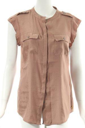 Maison Scotch Kurzarm-Bluse braunviolett Schulterklappen