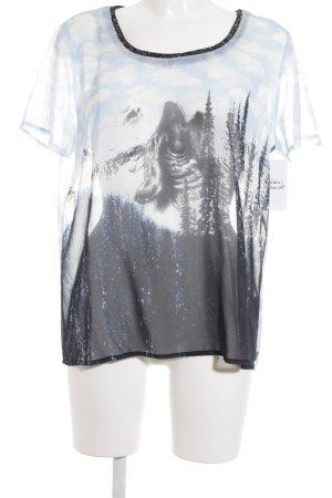 Maison Scotch Kurzarm-Bluse Motivdruck Street-Fashion-Look