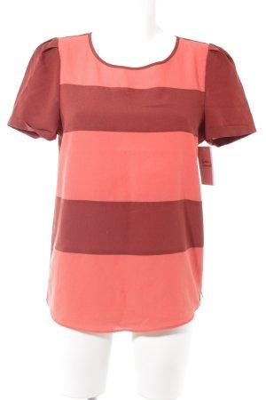 Maison Scotch Kurzarm-Bluse rostrot-hellrot Streifenmuster Casual-Look