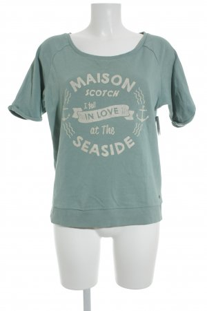 Maison Scotch Short Sleeve Sweater turquoise printed lettering athletic style