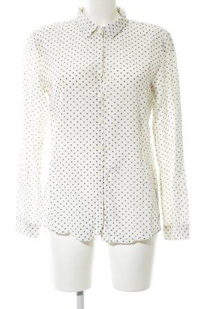 Maison Scotch Langarm-Bluse weiß-schwarz Punktemuster Business-Look