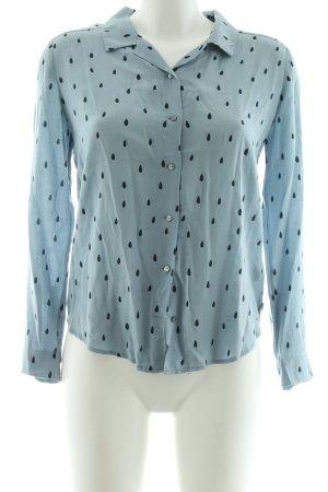 Maison Scotch Langarm-Bluse blau-schwarz Allover-Druck Casual-Look