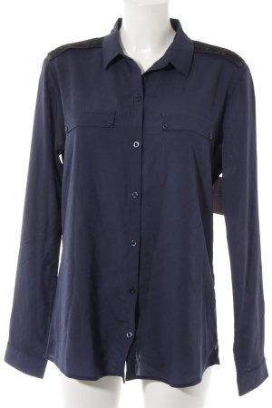 Maison Scotch Langarm-Bluse dunkelblau-schwarz Casual-Look