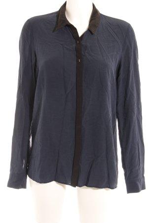 Maison Scotch Langarm-Bluse dunkelblau-schwarz Webmuster Casual-Look