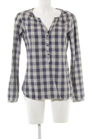 Maison Scotch Langarm-Bluse grau-dunkelviolett Karomuster Casual-Look