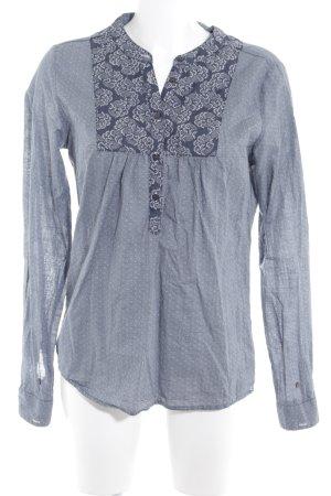 Maison Scotch Langarm-Bluse graublau-wollweiß Allover-Druck schlichter Stil