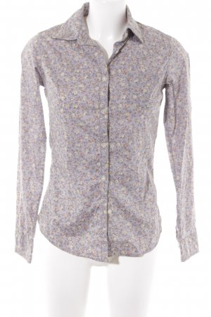 Maison Scotch Langarm-Bluse grauviolett florales Muster Casual-Look
