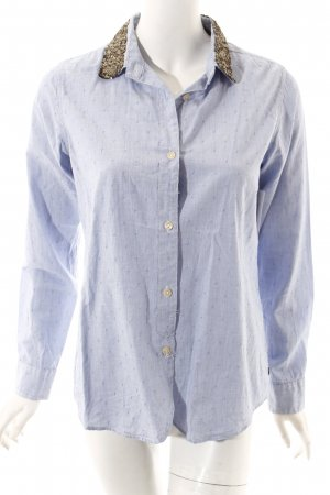 Maison Scotch Langarm-Bluse hellblau-blau Punktemuster Casual-Look
