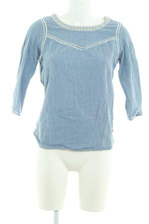 Maison Scotch Langarm-Bluse hellblau-weiß schlichter Stil