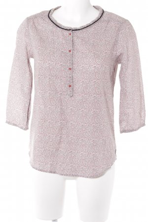 Maison Scotch Langarm-Bluse hellgrau-dunkelrot florales Muster Casual-Look