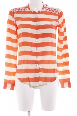 Maison Scotch Langarm-Bluse orange-creme Streifenmuster Casual-Look