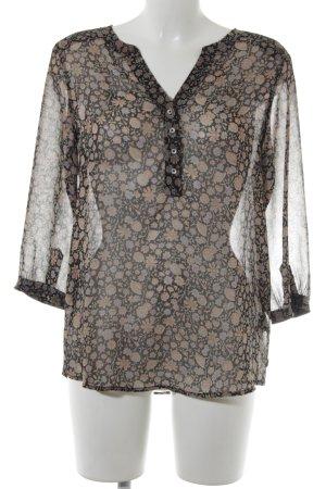 Maison Scotch Langarm-Bluse schwarz-beige Blumenmuster Transparenz-Optik