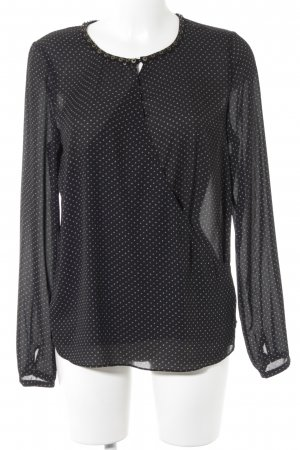 Maison Scotch Langarm-Bluse schwarz-weiß Punktemuster Elegant