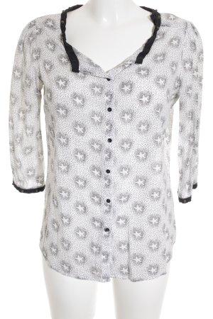Maison Scotch Langarm-Bluse weiß-schwarz Sternenmuster Casual-Look